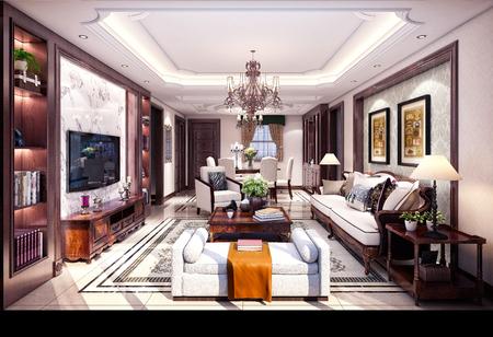 3d render neo classic living room Stockfoto