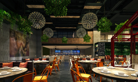 3d render of luxury restaurant