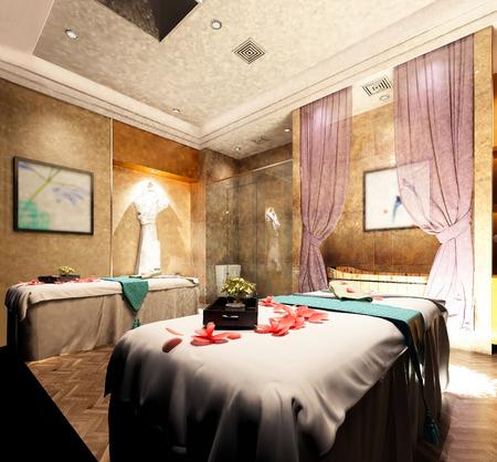 3d render spa massage room