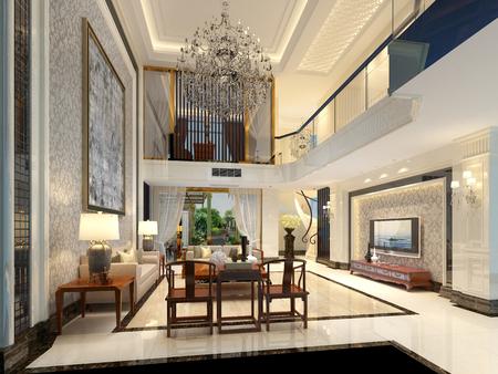 3d render house living room