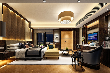 3d render hotel room