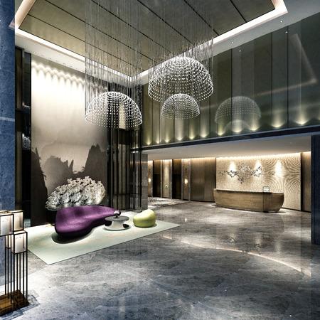 3d render of hotel lobby