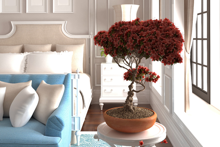 3d render neo classical style bedroom