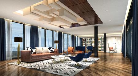 3d render modern working room