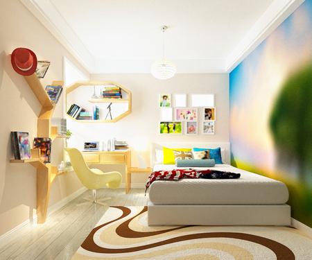 3d render of modern boys room Stockfoto