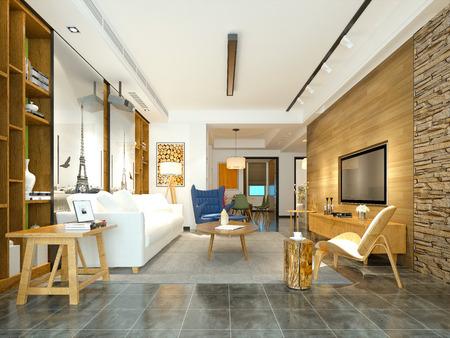 3d render modern living room Stockfoto