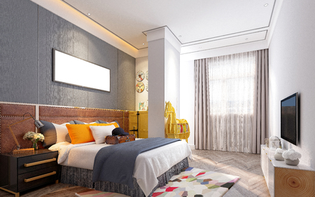 3d render of hotel room Stockfoto