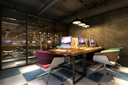 3d render of a working office