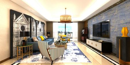 3d render living room