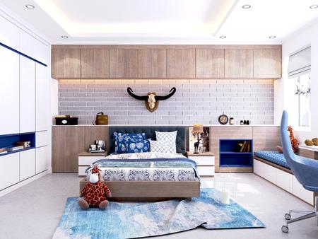 3d render boys bedroom