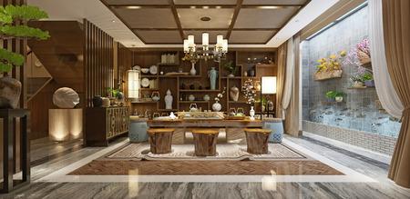 3d render japan style living room