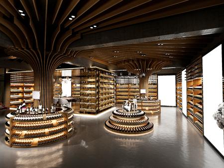 3d render of wine shop