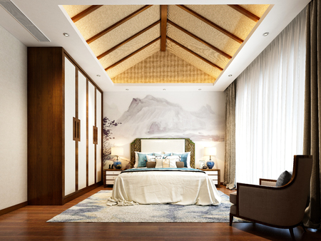 3d render of neo classic bedroom