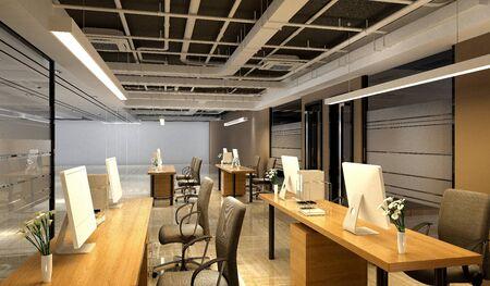 3d render modern working office Banco de Imagens