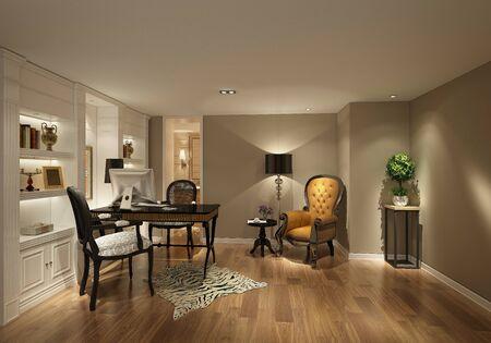 3d render of modern study working room