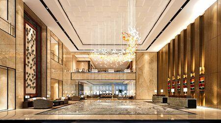 salle de réception d'hôtel de luxe de rendu 3d