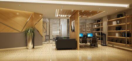 3d rendering of modern open working office Banco de Imagens