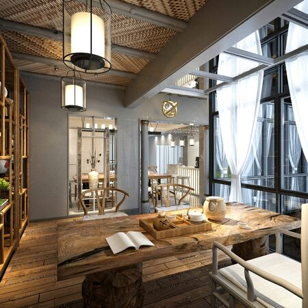 3D render van woonkamer Stockfoto