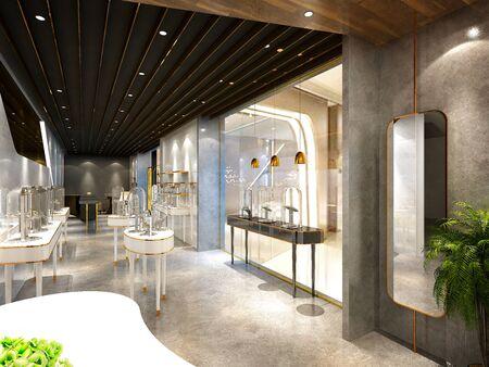 3d render of shop showroom