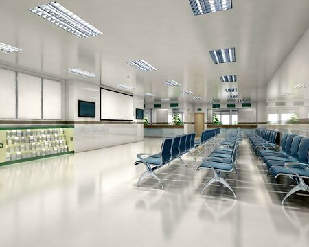 3d rendering of hospital interior waiting space
