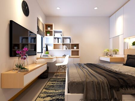 3d render of modern hotel room