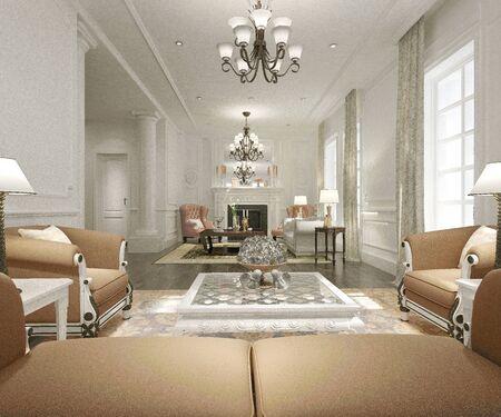 Render 3D de sala de estar moderna