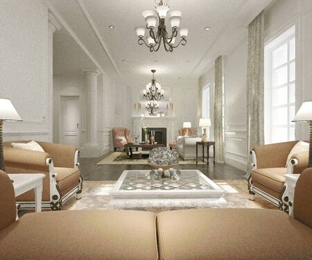 Rendu 3D du salon moderne