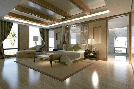 Rendering 3D di una camera d'albergo