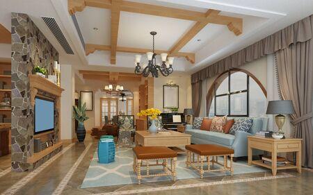 3d render of neo classic living room