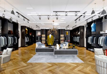 3d render of man suit shop Stok Fotoğraf