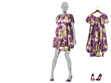 3d rendering of purple woman dress Reklamní fotografie