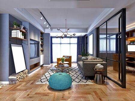 Render 3D de sala de estar de estilo nórdico
