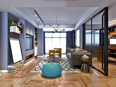Rendering 3D soggiorno in stile nordico