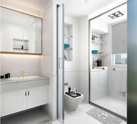 3d render of modern luxury bathroom