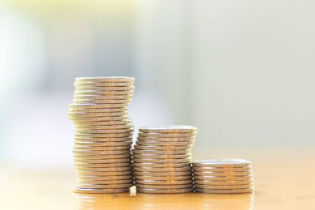 Business, Money, Finance, Security and Saving Concept. Close up of stack of coins with copy space. Фото со стока