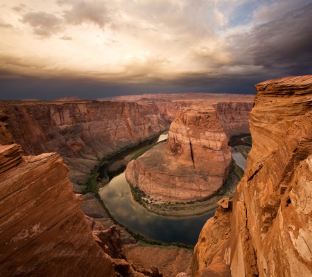 Majestic Sunrise at Horseshoe Bend, Arizona with Colorado River, adjacent to Grand Canyon National Park photo
