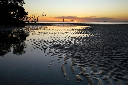 sandbar: Low tide revealse a sandbar with intricate wave patters in South Floridas Biscayne Bay at sunset, a stones throw from Miami Stock Photo