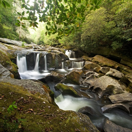 appalachian mountains: Intimate watefall on the Wild and Scenic Chattooga River in Western North Carolina, in the dense and lush Nantahala National Forest