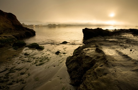 A foggy sunrise over Half Moon Bay in Northern California, with boats and pier in the background photo