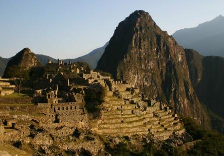 incan: The ancient Incan ruin of Machu Picchu at sunrise