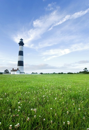 obx: Bodie Island Lighthouse, on the outer banks of North Carolina, near Nags Head, at dusk Stock Photo