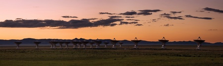 Panorama of New Mexico's Very Large Array (VLA) at sunset photo