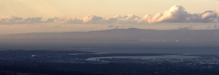 Dumbarton Bridge and bay area in late afternoon photo