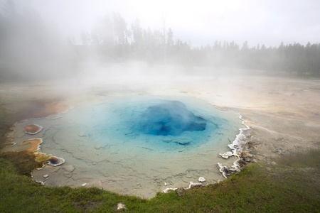 thermal spring: Thermal hot springs geyser in Yellowstone National Park Stock Photo