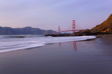 baker's: California Scenic  Golden Gate Bridge and Marin Headlands from Bakers Beach during a calm sunset Stock Photo