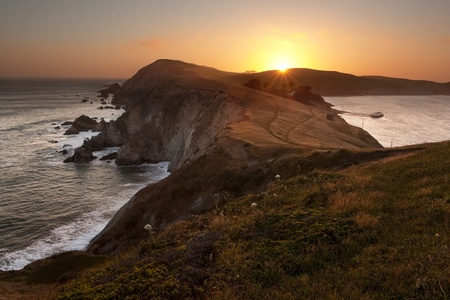 Point Reyes National Seashore cliffs on a tranquil evening
