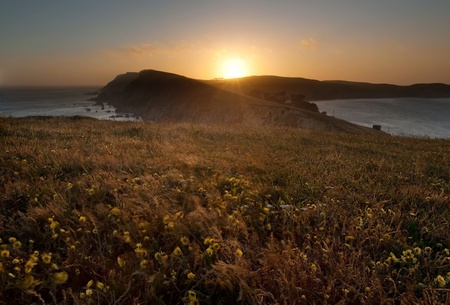 isthmus: Point Reyes National Seashore on a tranquil evening
