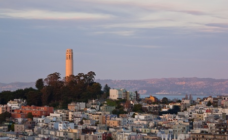 San Francisco and Coit Tower at Sunset, from Nob Hill Stock Photo