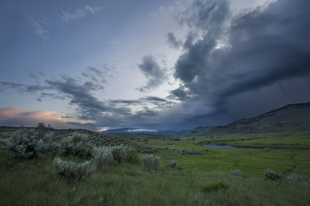 inclement: A summer thunderstorm over Lamar Valley in Yellowstone National Park