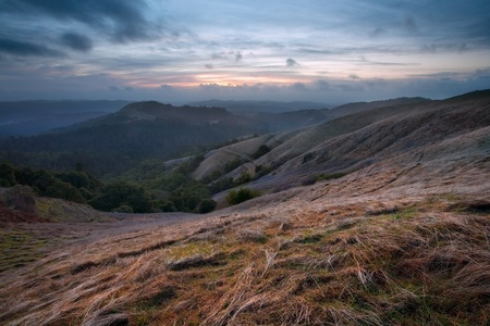 chaparral: Stormy sunset over Russian Ridge, in the Santa Cruz Mountains of California